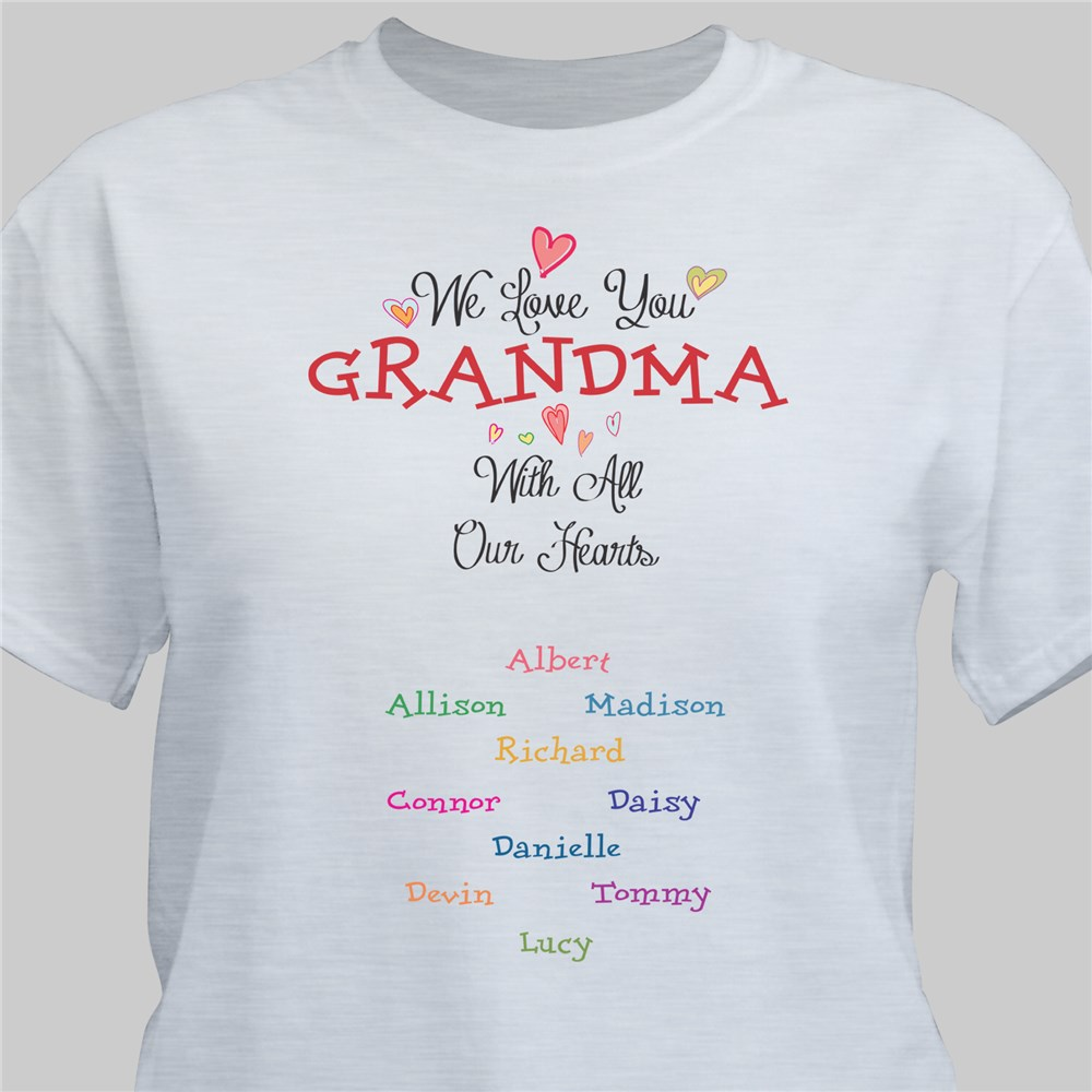 Personalized With All Our Heart T-shirt | Personalized Grandma Shirts