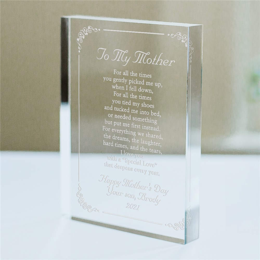 Personalized To My Mother Acrylic Keepsake Block | Unique Mother's Day Gifts