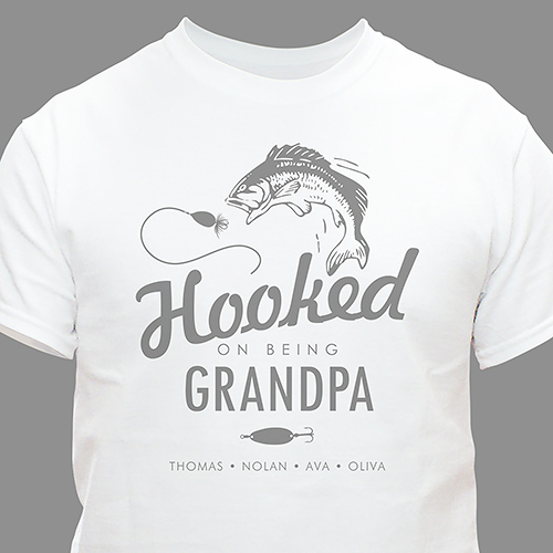 Personalized Hooked on You T-shirt | Father's Day Presents For grandpa