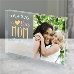 Personalized I Heart You Mom Acrylic Block | Photo Gifts For Mom