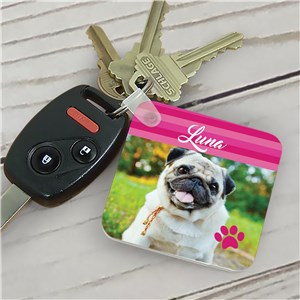 Personalized Striped Pet Photo Key Chain | Personalized Photo Keychains