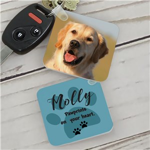 Personalized Paw Prints On My Heart Key Chain | Photo Keychain