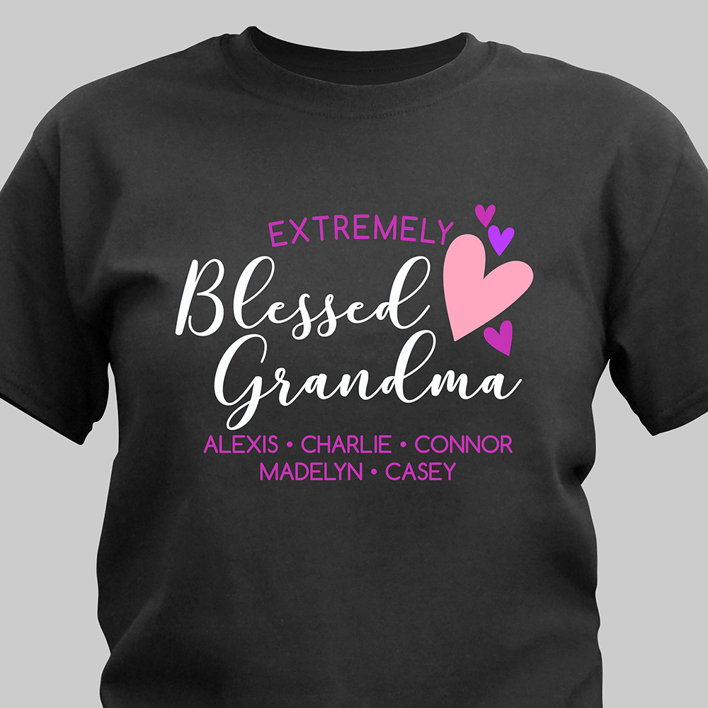 Personalized Extremely Blessed Grandma T-Shirt | Personalized Grandma Shirts