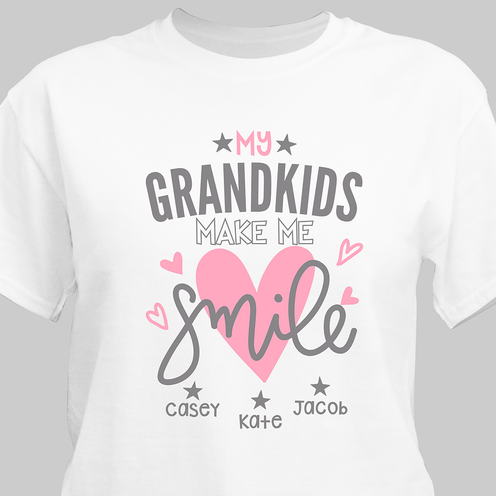 Personalized Grandkids Make Me Smile T-Shirt | Personalized Gifts For Grandparents