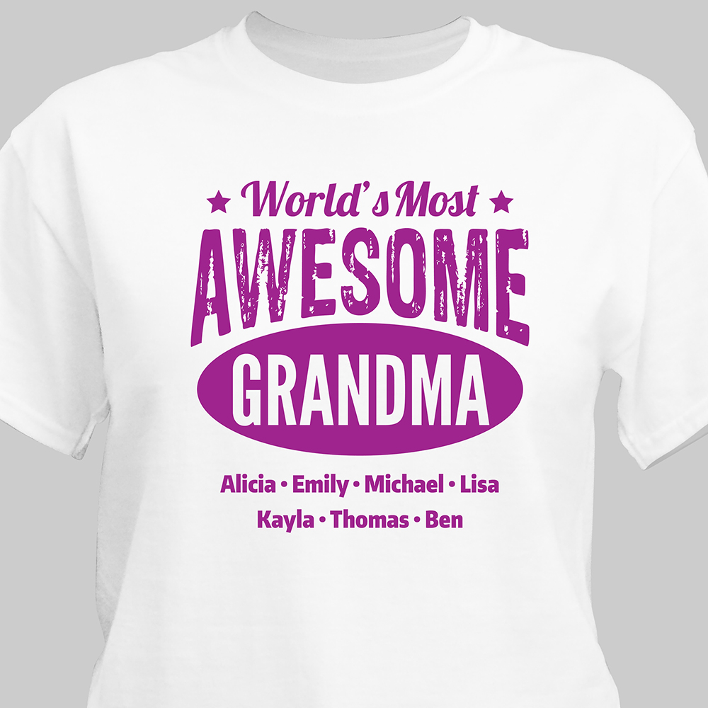 Personalized Worlds Most Awesome T-Shirt | Personalized Gifts For Grandparents