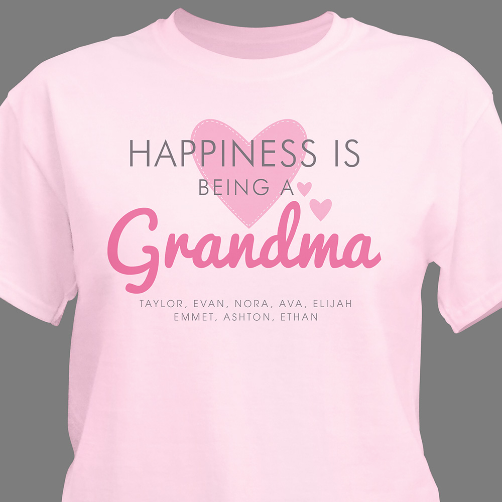 Personalized Happiness Is Being a Grandma T-Shirt | Personalized Gifts For Grandma