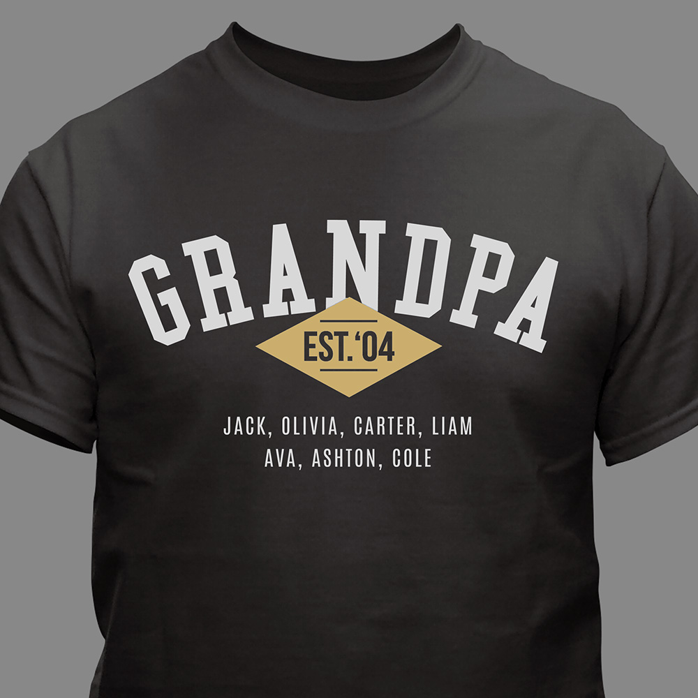 Personalized Grandpa Established T-Shirt | Personalized Grandpa Shirts