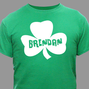 Personalized Shamrock Name Green T-shirt | Personalized T-shirts