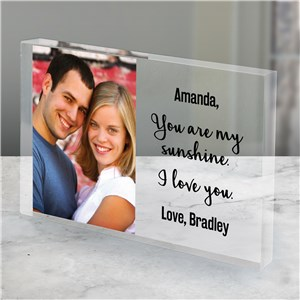 Personalized You Are My Sunshine Photo Acrylic Keepsake | Personalized Valentines Gifts For Her