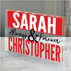 Personalized Always and Forever Acrylic Keepsake | Personalized Valentine's Day Gifts For Him