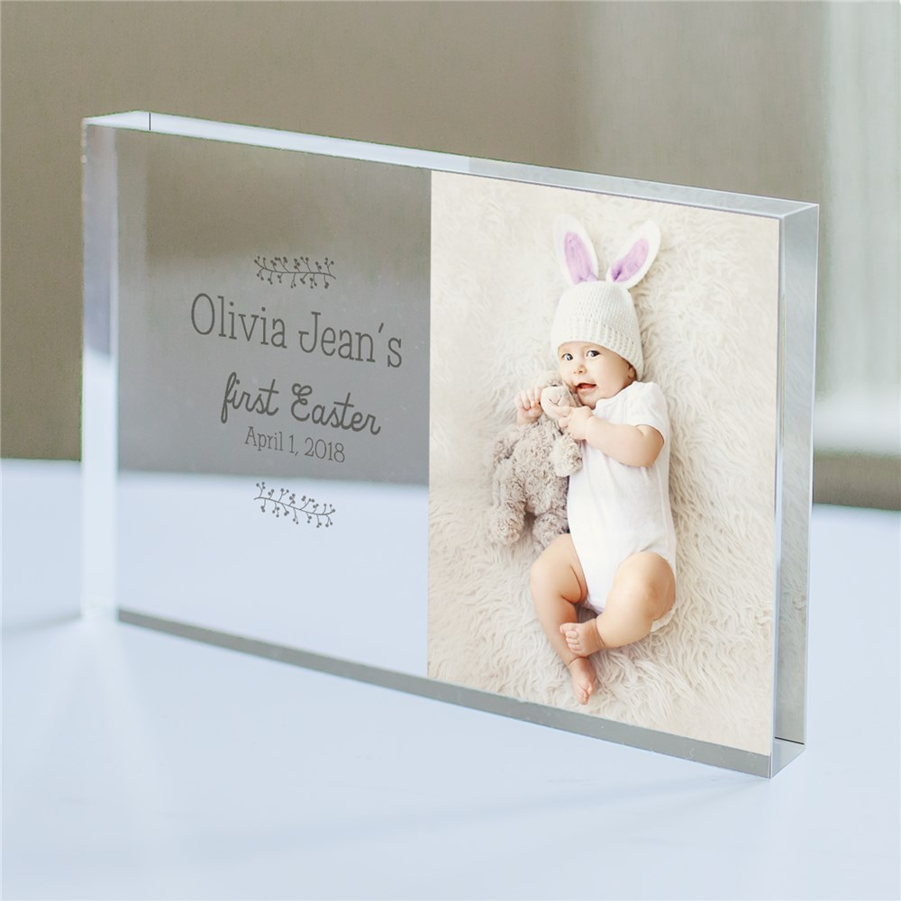 Personalized Baby Girls First Easter Photo Keepsake | Baby's First Easter Gifts