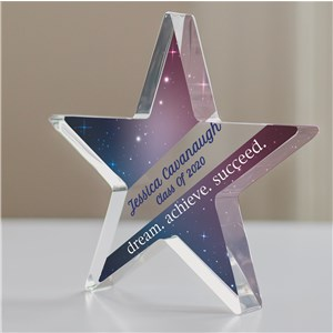 Personalized Dream.Achieve.Succeed Acrylic Star Keepsake | Personalized Graduation Keepsakes
