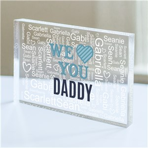 Personalized We Heart Word-Art Acrylic Block | Father's Day Keepsakes