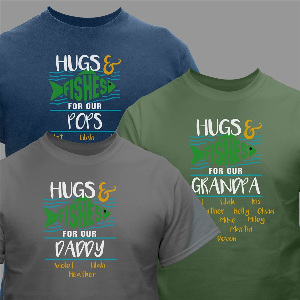Personalized Hugs and Fishes T-Shirt | Personalized TShirts for Father's Day