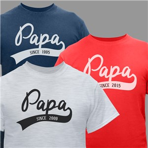 Personalized Papa Since T-Shirt | Personalized Shirts For Grandpa