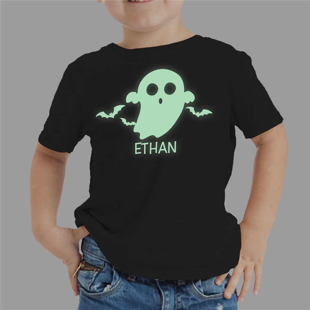 Glow In The Dark Ghost Personalized T-Shirt | Glow In The Dark Halloween Shirt For Kids