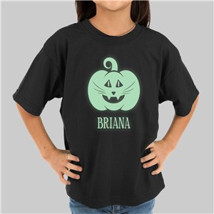 Glow In The Dark Pumpkin Personalized T-Shirt | Glow In The Dark Halloween Shirts For Kids