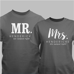 Personalized Mr & Mrs Swiped Right T-Shirts | Mr & Mrs Shirts