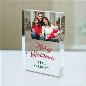 Personalized Merry Christmas Or Happy Holidays Choice Acrylic Photo Keepsake