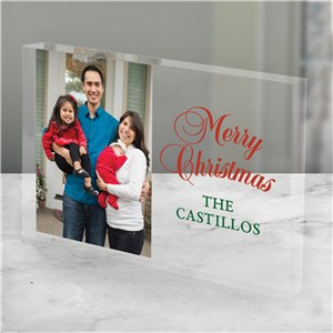 Personalized Merry Christmas Or Happy Holidays Choice Acrylic Photo Keepsake | Photo Gifts