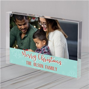 Clear Christmas Photo Block | Merry Christmas Photo Block With Name