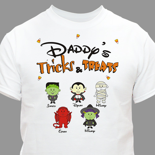 Tricks and Treats Character Personalized T-shirt | Personalized Halloween Shirts