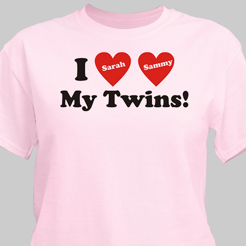 I Love My Twins Personalized T-Shirt | Personalized T-shirts