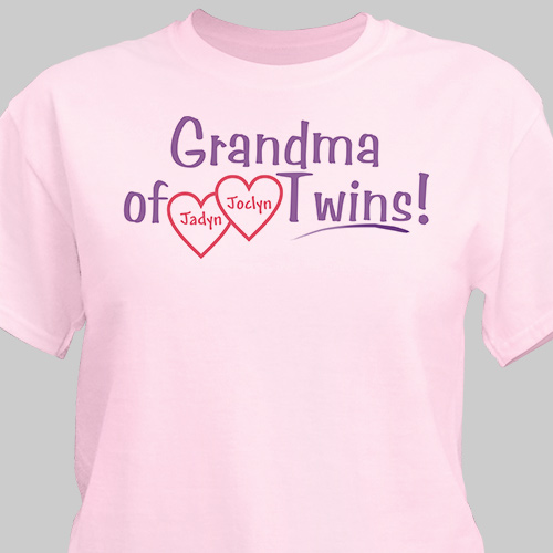Grandmother of Twins Personalized T-shirt | Personalized T-shirts