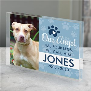 Pet Memorial Photo Art | Angel Has Four Legs Memorial Gift