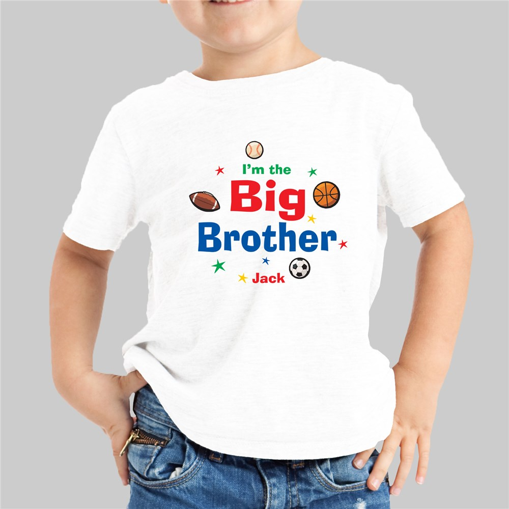 Sporty I'm the Brother Personalized Kids T-Shirt | Big Brother Gifts