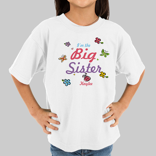 Butterfly and Flowers Personalized Big Sister T-shirt | Big Sister Gifts