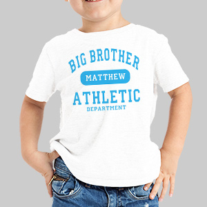 Big Brother Athletic Dept. Personalized Kids T-Shirt | Big Brother Gifts