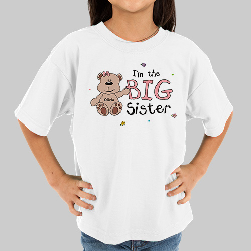 I Am the Sister Teddy Bear Personalized Kids T-Shirt | Big Sister Gifts from Baby