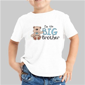I Am the Brother Teddy Bear Personalized Kids T-Shirt | Big Brother Gifts