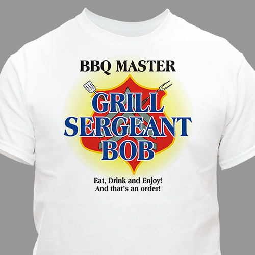 Grill Sergeant BBQ Personalized T-shirt |Shirt for Dad