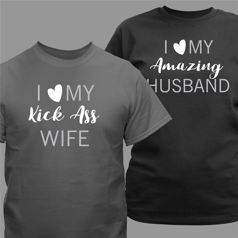 Personalized I Love My Wife or Husband T-Shirt