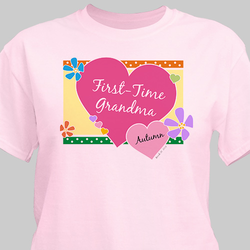 First Time Grandma New Baby Personalized T-shirt | Personalized Grandma Shirts