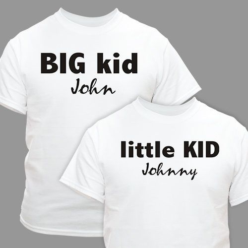 Big Kid Little Kid Personalized Father Child T-shirts | Dad Shirts