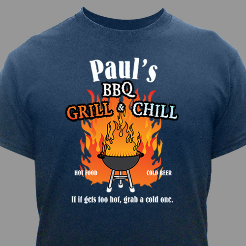 BBQ Grill & Chill Personalized T-Shirt | Grilling Gifts