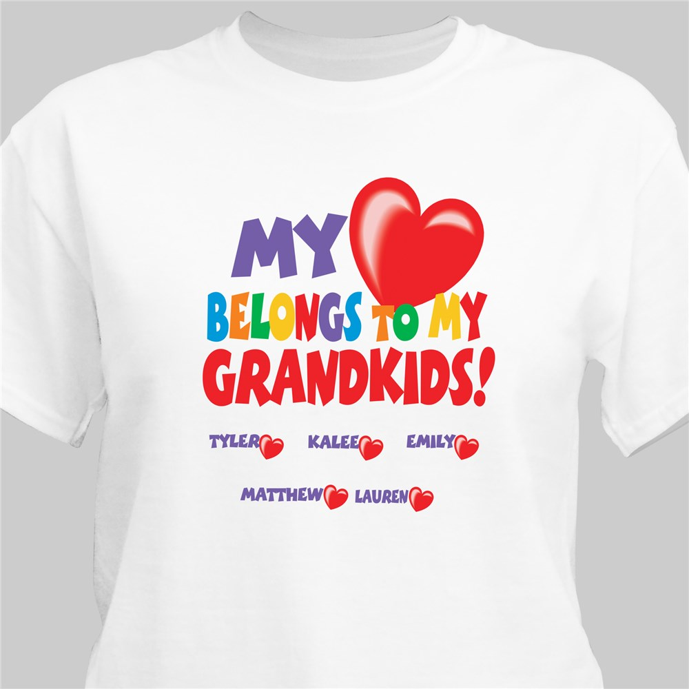 My Heart Belongs To Personalized T-shirt | Personalized Grandma Shirts