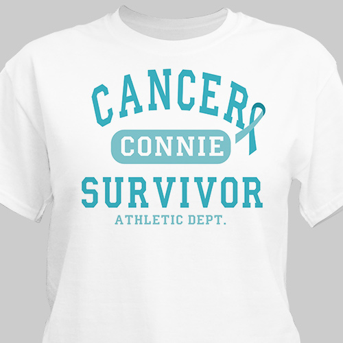 Cancer Survivor Athletic Dept. - Ovarian Cancer Awareness Personalized T-shirt | Personalized T-shirts