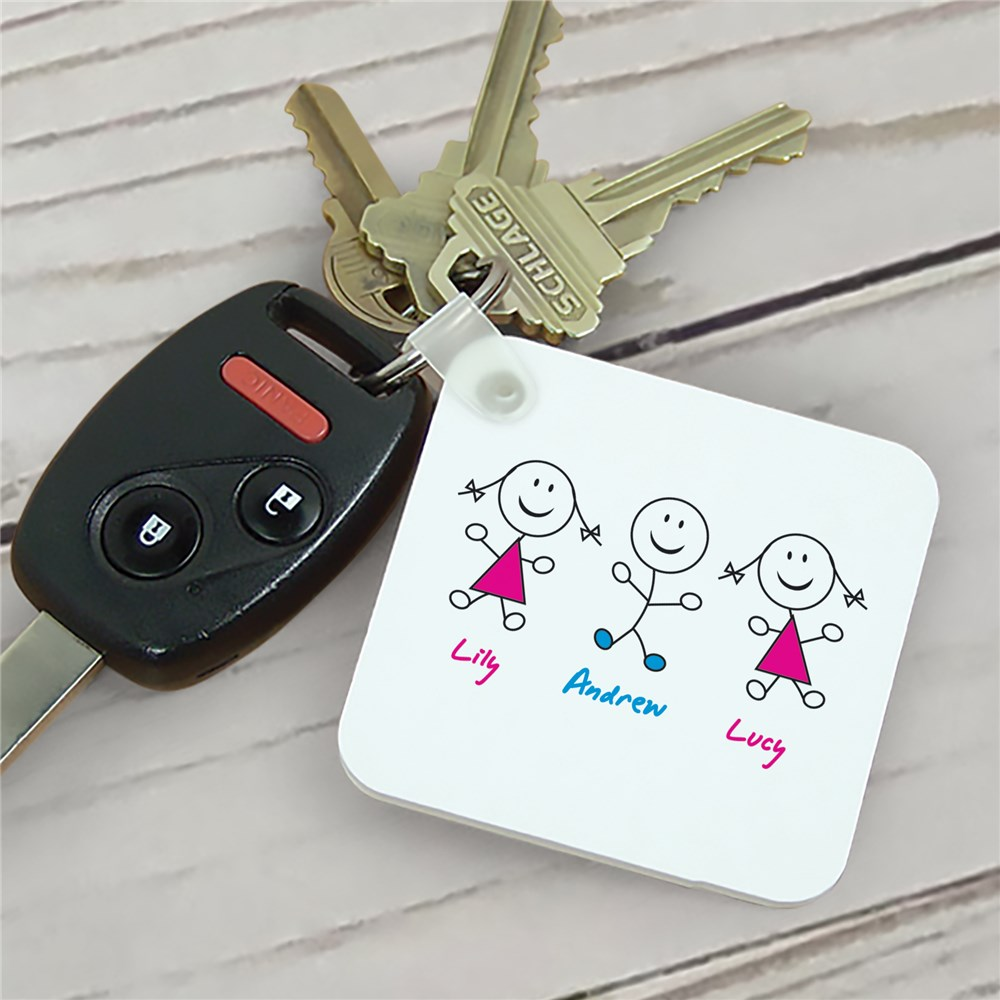 Personalized Stick Figure Key Chain