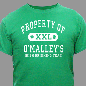Property of Irish Drinking Team Personalized T-shirt | Personalized T-shirts