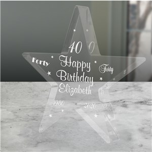 Personalized 40th Birthday Star Keepsake