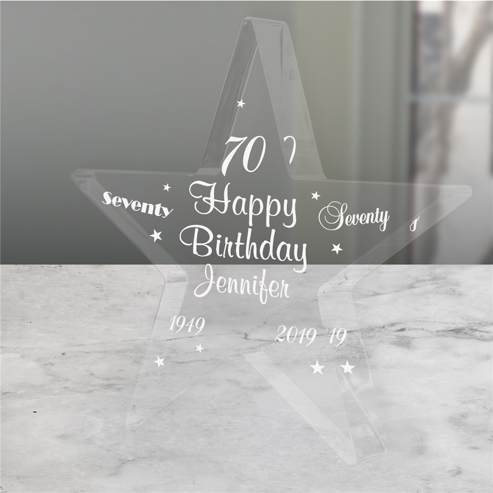 Engraved 70th Birthday Star Keepsake
