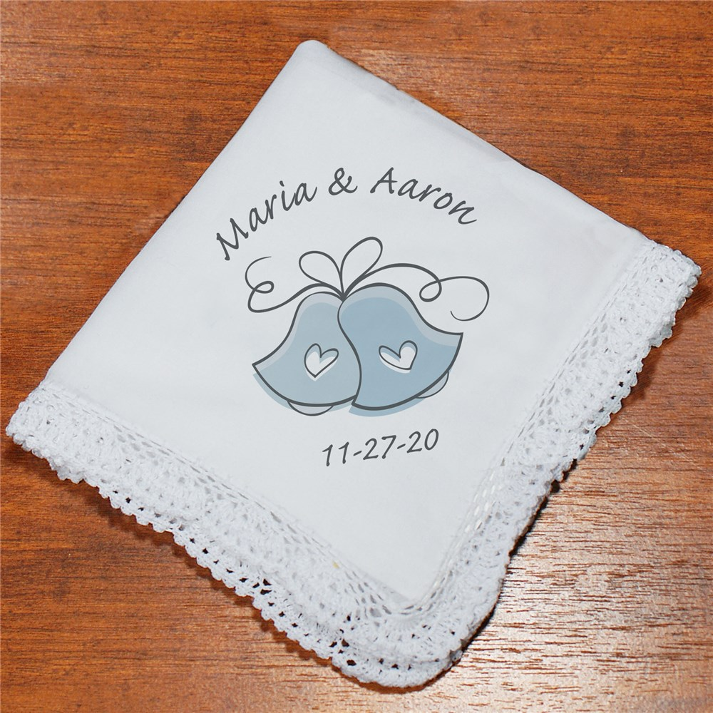Wedding Bells Personalized Wedding Ladies Handkerchief | Personalized Wedding Gift
