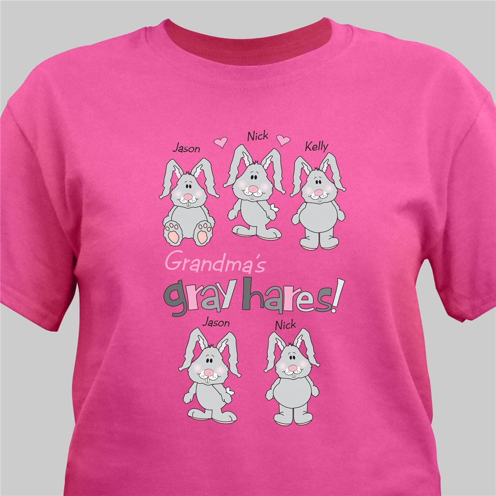 Gray Hares Personalized Hot Pink T-shirt | Shirts For Mom
