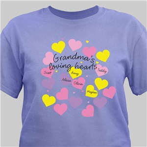 Personalized Loving Hearts T-Shirt | Personalized Grandma Shirts