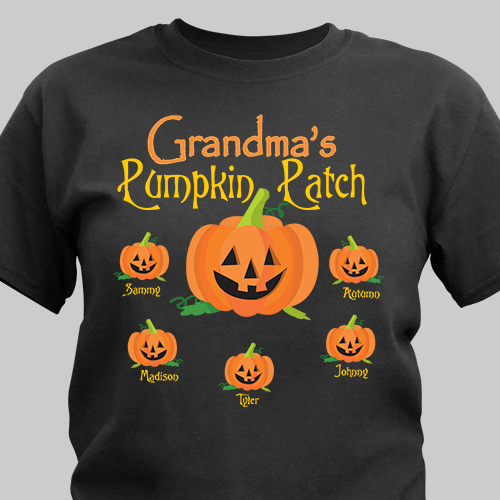 Pumpkin Patch Personalized Halloween Black T-Shirt | Personalized Halloween Shirt