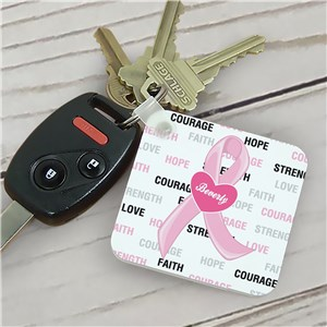Hope and Love Personalized Breast Cancer Key Chain 336630
